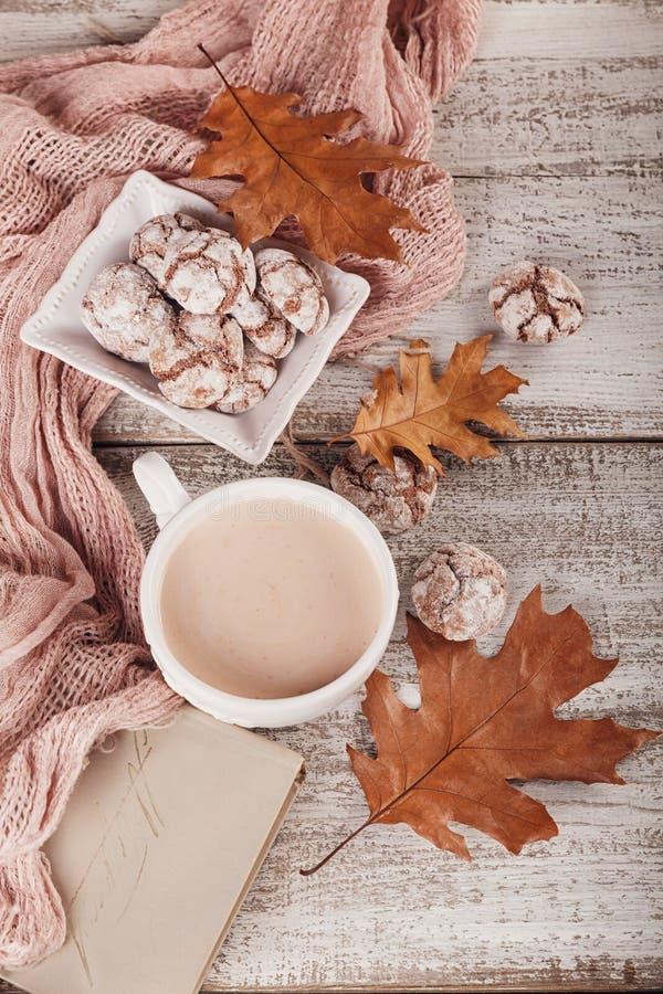D'automne toujours la vie avec la tasse de biscuits de cacao et de chocolat photos stock