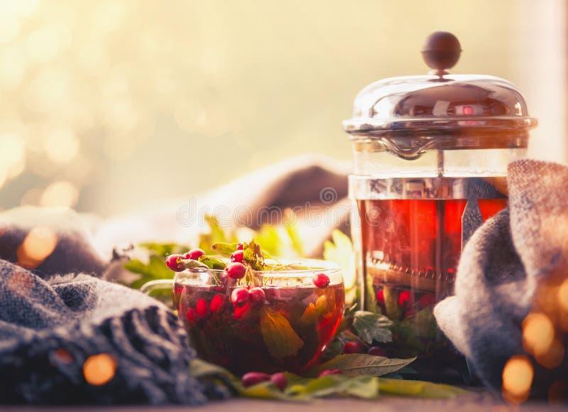 D'automne toujours la vie avec la tasse et le pot de thé avec les baies, l'écharpe et la chute part au bokeh ensoleillé images stock