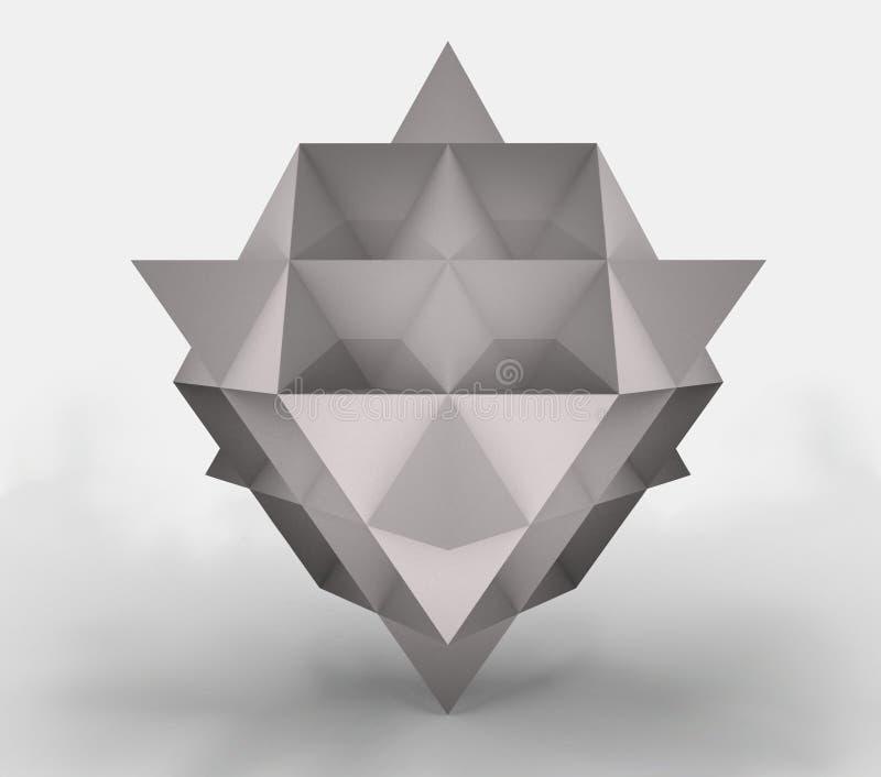 3d av en tetrahedron som göras av papper, tolkning 3d royaltyfri illustrationer
