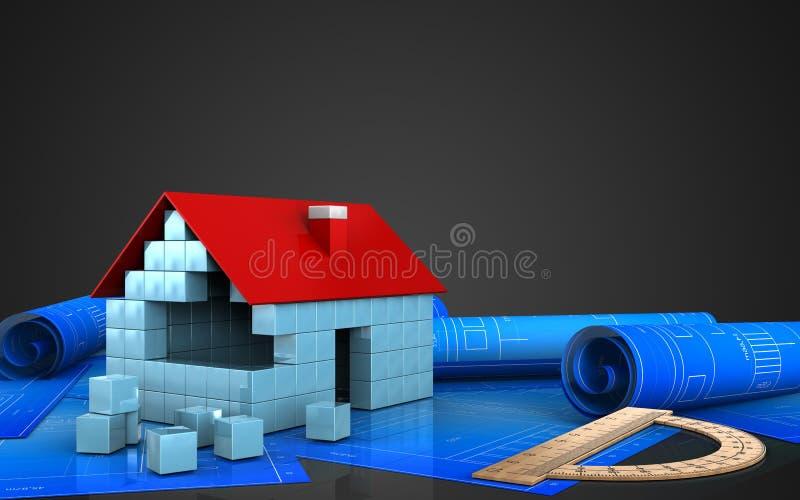 3d av huset blockerar konstruktion royaltyfri illustrationer