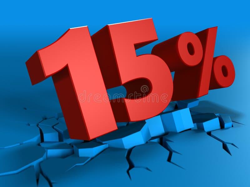 3d av 15 procent rabatt royaltyfri illustrationer