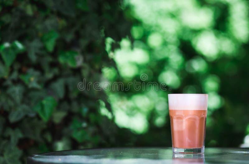 D'avanguardia, caramello dei pantaloni a vita bassa, dolce, caffè del cioccolato Cappuccino in vetro sui precedenti delle foglie  immagini stock libere da diritti