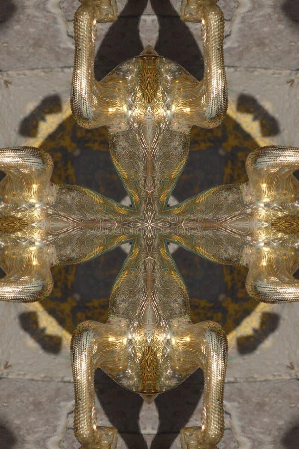 d'or avec l'ornement circulaire brun images stock