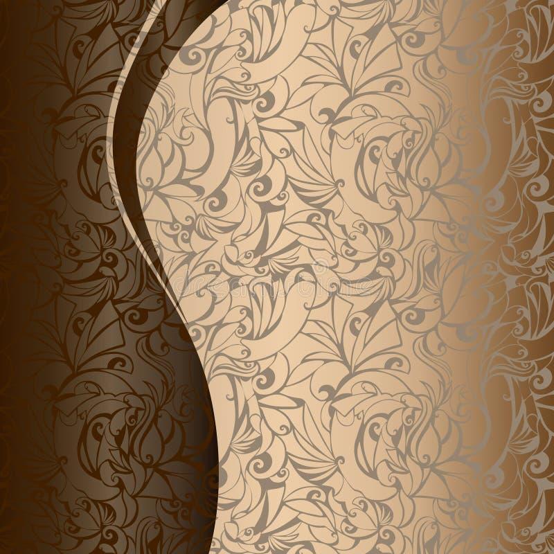 D'or avec le fond de chocolat illustration de vecteur