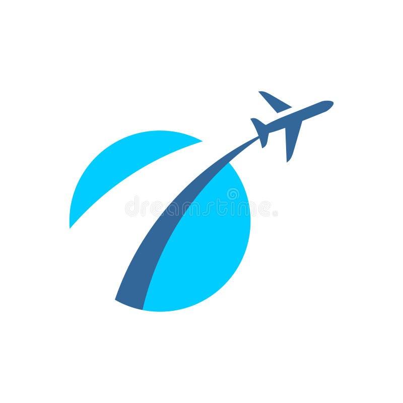 D'avion de mouche logo  Signe stylisé de décollage plat illustration stock
