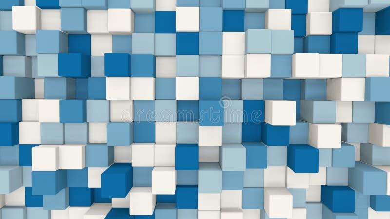 3D azul e branco cuba o fundo geométrico ilustração stock