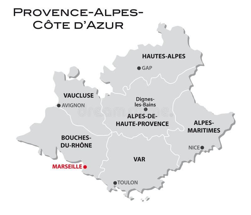 D'Azur simple de Provence-Alpes-Cote de carte administrative illustration de vecteur