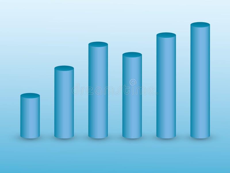 3D błękita bary na błękitnym tle dla pokazywać przyrosta i wartości w ewidencyjnym graficznym biznesowym szablonie ilustracji