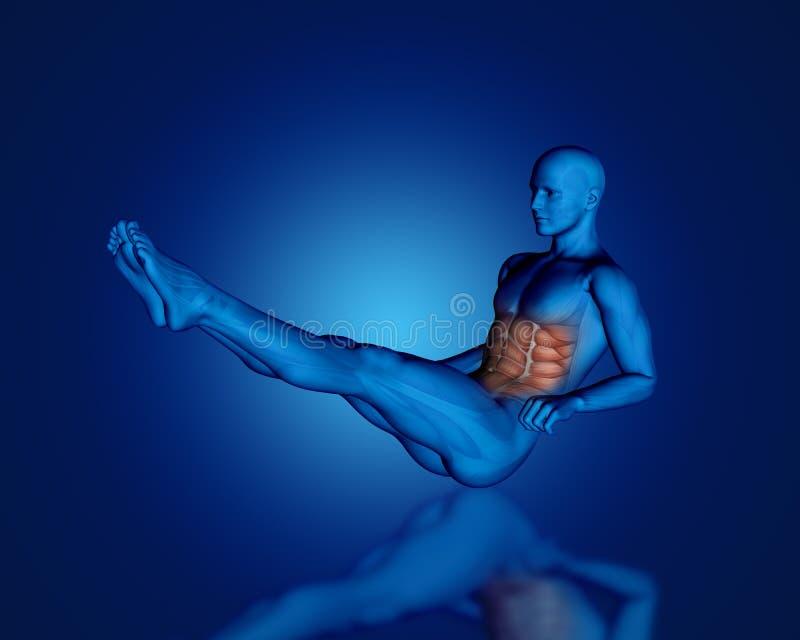 3D błękitna męska postać z częściową mięsień mapą ilustracja wektor