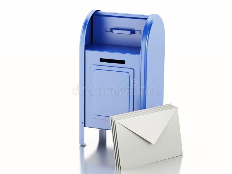 3d Błękitna skrzynka pocztowa z rozsypiskiem listy royalty ilustracja