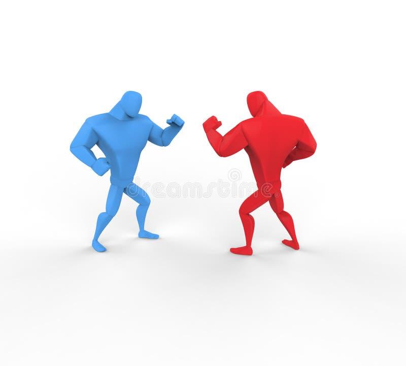 3D Błękitni i czerwoni boksery na białym tle ilustracja wektor