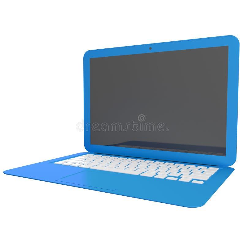 3D błękitny laptop odizolowywający na bielu royalty ilustracja