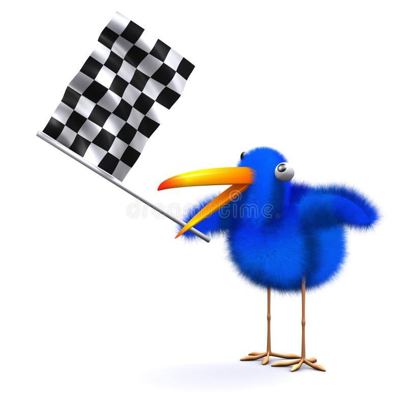 3d Błękitny ptak macha w kratkę flaga ilustracja wektor