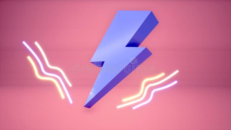 3D błyskawicowego rygla neonowy tło ilustracji