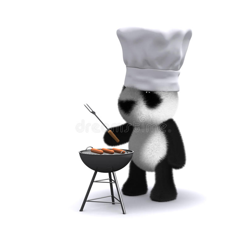 3d Baby panda bear cooking a barbecue vector illustration