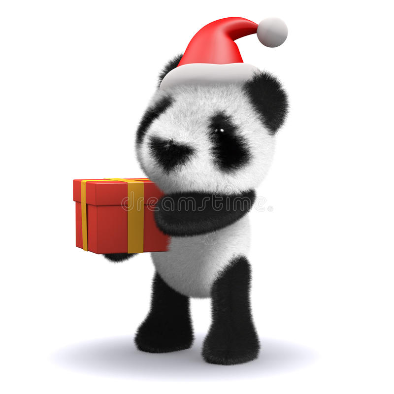 3d Baby panda dressed as Santa with a gift royalty free stock photos