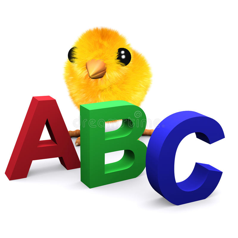 3d Babykuiken leert het alfabet royalty-vrije illustratie