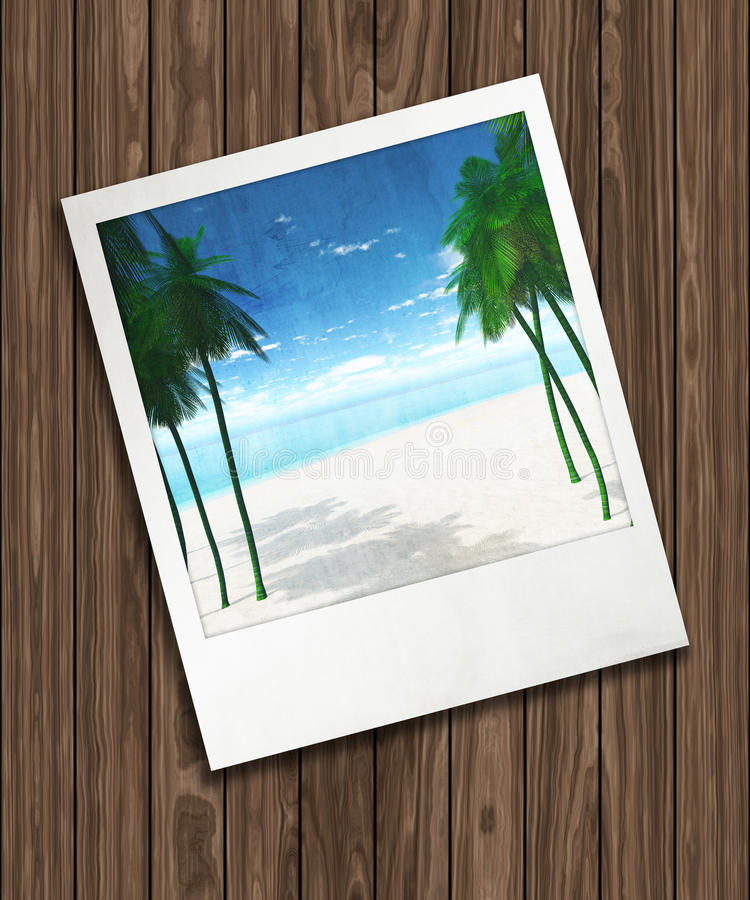 3D background with holiday photograph on wooden texture stock illustration