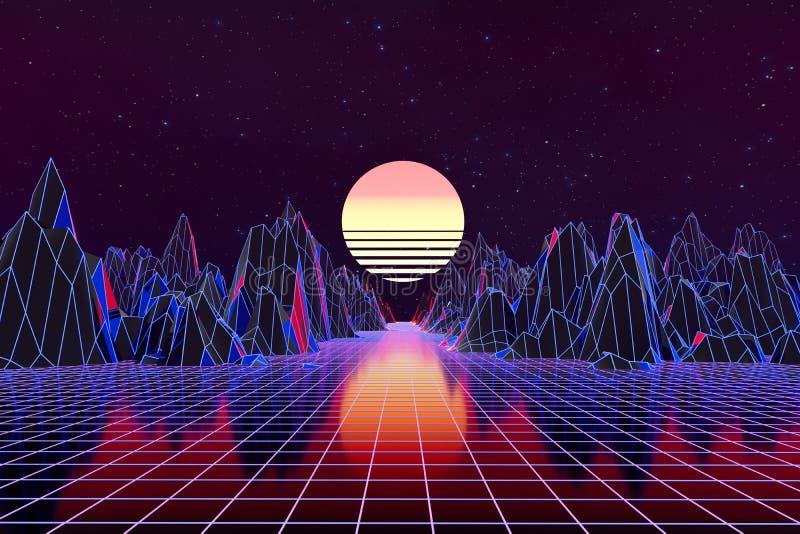 3d background Illustration Inspired by 80's Scene synthwave and retrowave. Computer digital drawing, landscape, vintage, vibrant, vaporwave, universe stock illustration