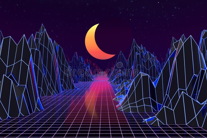 3d background Illustration Inspired by 80's Scene synthwave and retrowave. Computer digital drawing, landscape, vintage, vibrant, vaporwave, universe royalty free illustration