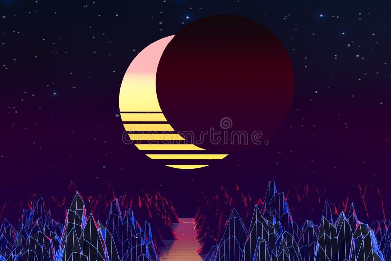 3d background Illustration Inspired by 80's Scene synthwave and retrowave. Computer digital drawing, landscape, vintage, vibrant, vaporwave, universe vector illustration