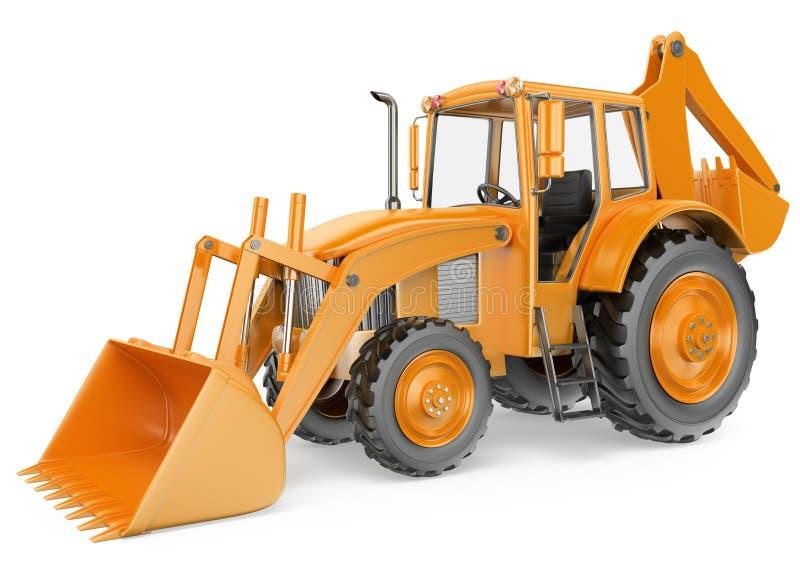 3D Backhoe loader. Digger. White background vector illustration