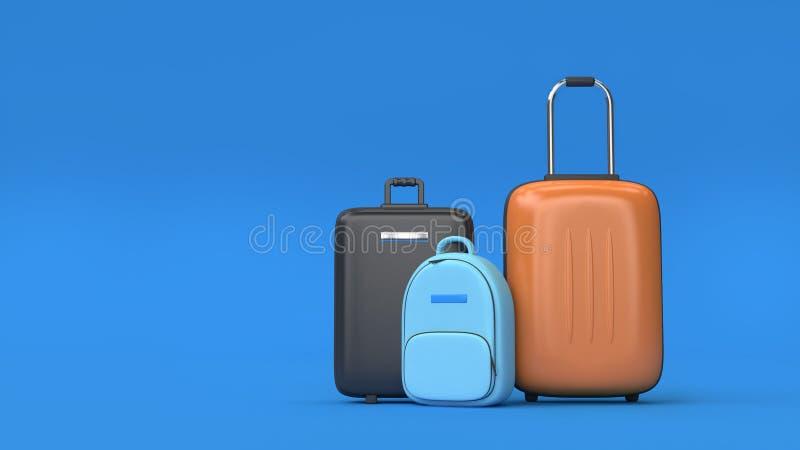 3d bagażu błękitny tło 3d odpłaca się iść podróż transportu pojęcie ilustracji