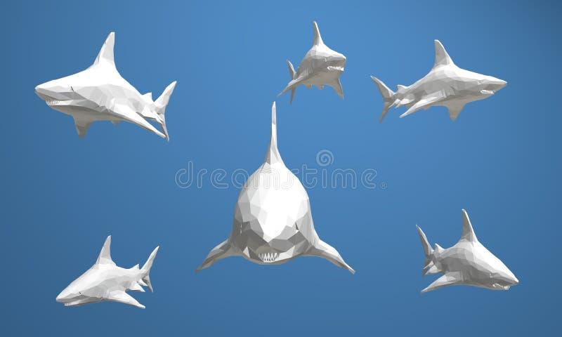 3d baixa ilustração gráfica poli do animal dos animais selvagens que é isolado, colorida, mam geométrico do ícone do estilo do co ilustração stock