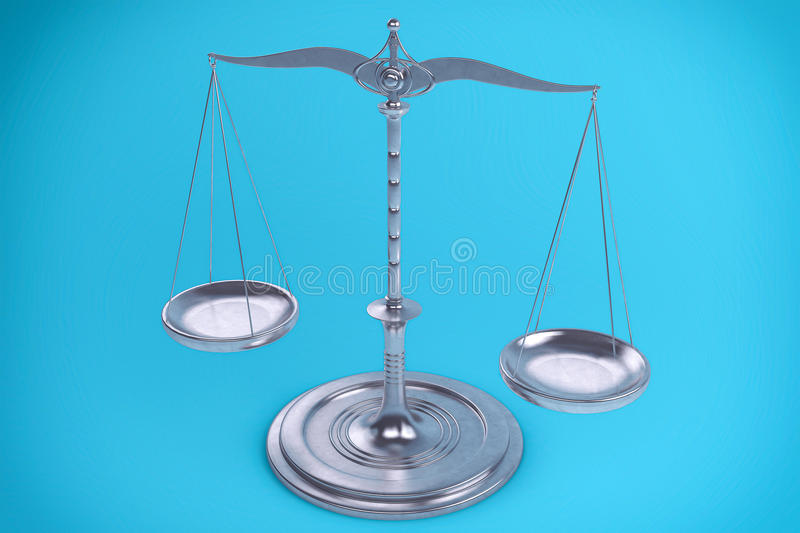 3D Balance or scale Background for measure. Justice, law or decisions concept royalty free illustration