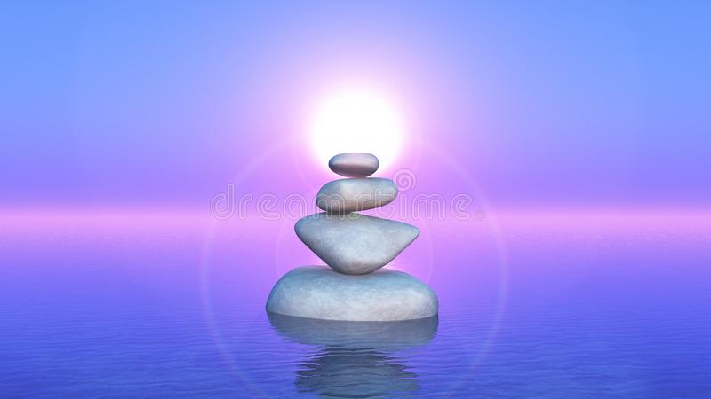 3D balancing rocks in the ocean against a sunset sky royalty free illustration