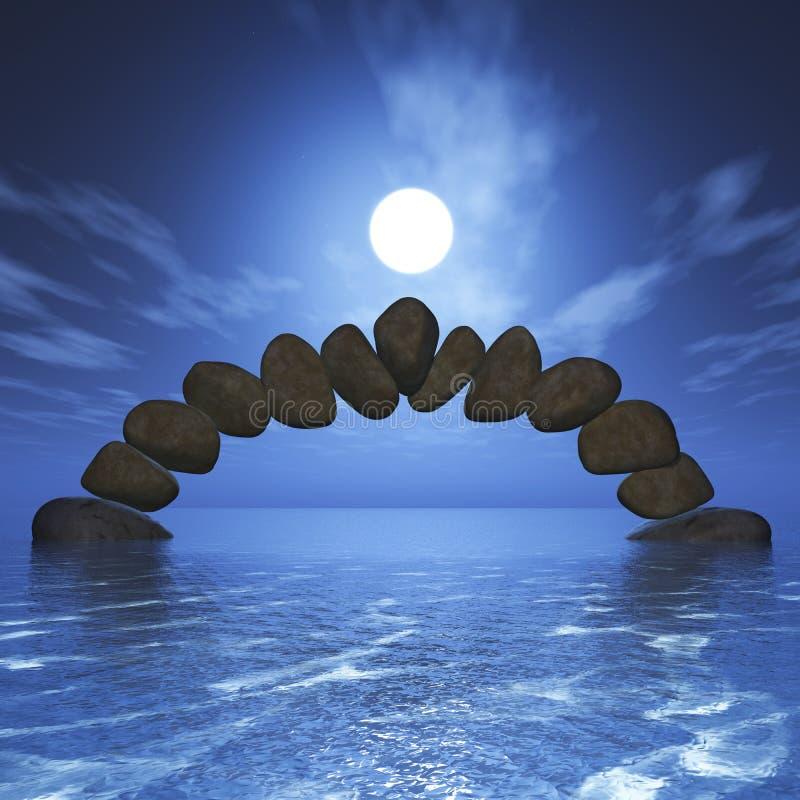 3D balansuje rockową formację w oceanie przeciw zmierzchu niebu ilustracja wektor