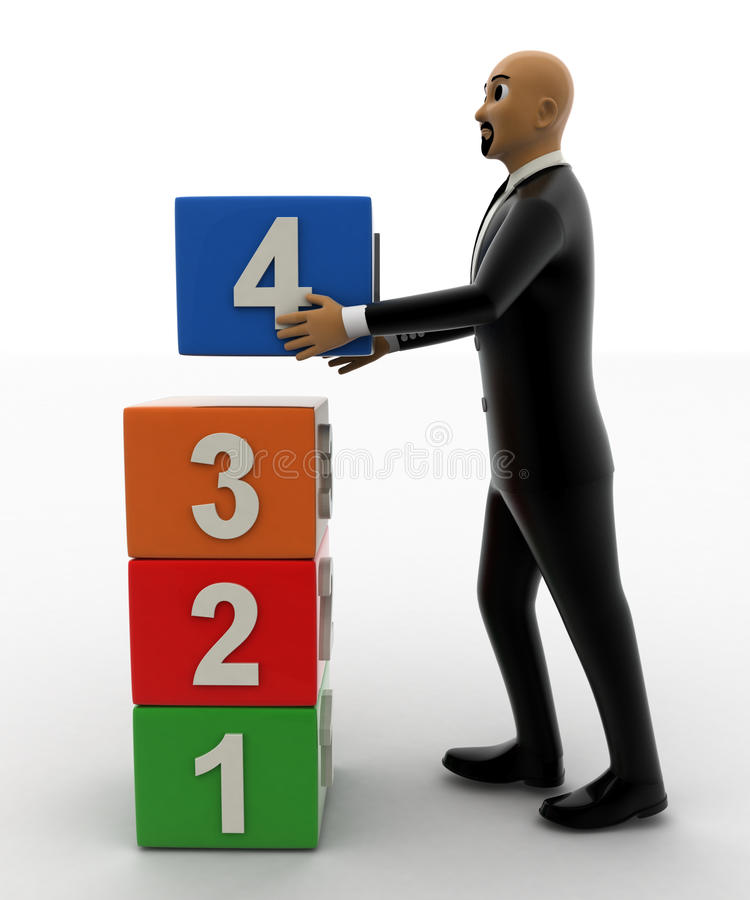 3d bald head man arranging one to four numbered cube one by one. Concept front view stock illustration