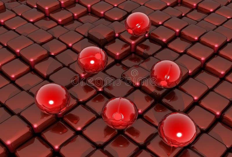 3d ball and cubes red black mural background for floor wallpaper royalty free stock photo