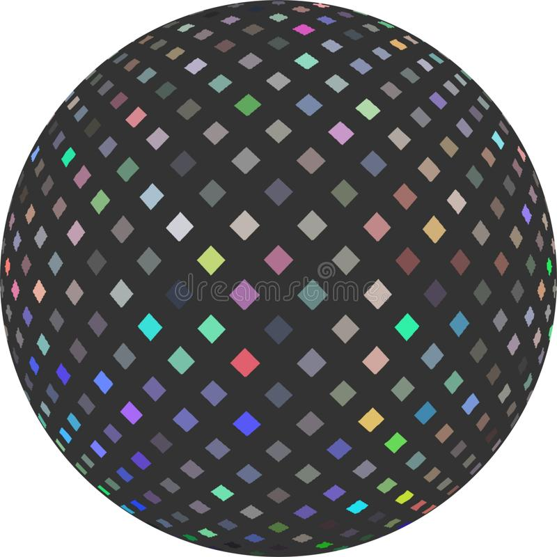 3d ball holographic mosaic decoration. White background isolated. Shimmer iridescent multicolor pattern on grey sphere. vector illustration