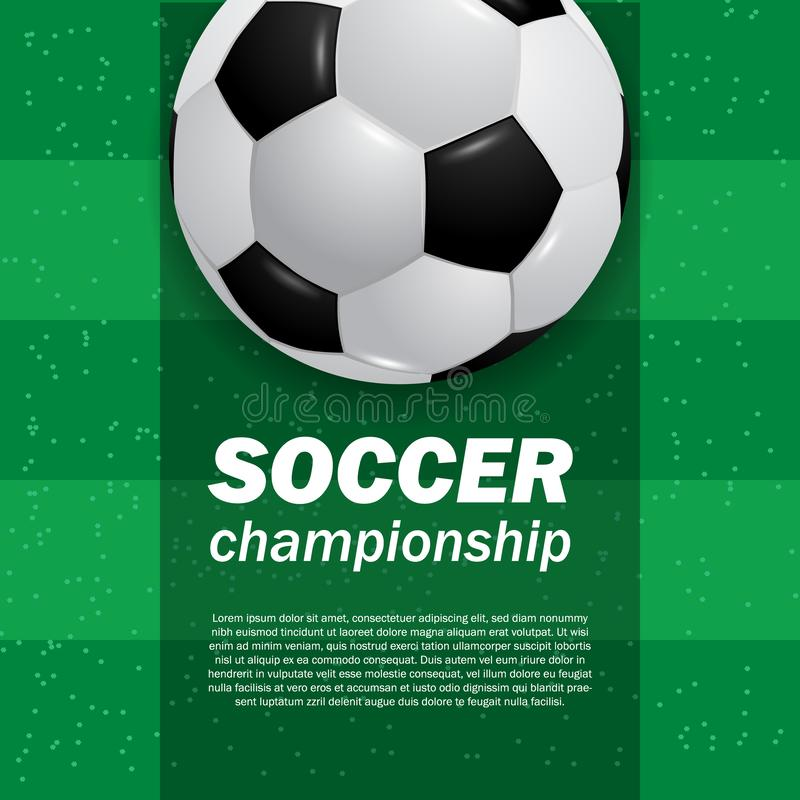 3D ball soccer football on the green field stadium top view soccer stock illustration