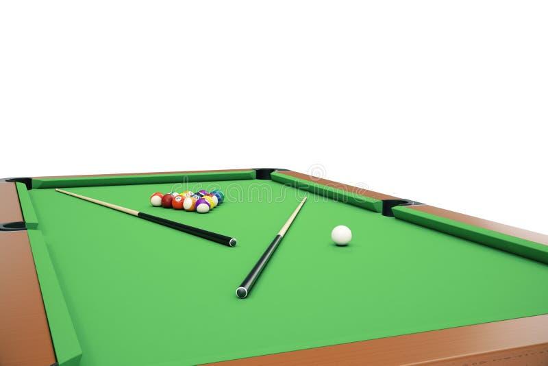 3D ballen van het illustratiebiljart op groene lijst met biljart lassen in, in het nauw drijven, Poolspel, Biljartconcept royalty-vrije illustratie