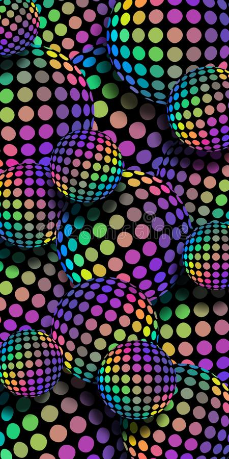 3d balls rainbow hologram mosaic background. Lilac yellow green blue iridescent gradient spheres pattern. vector illustration