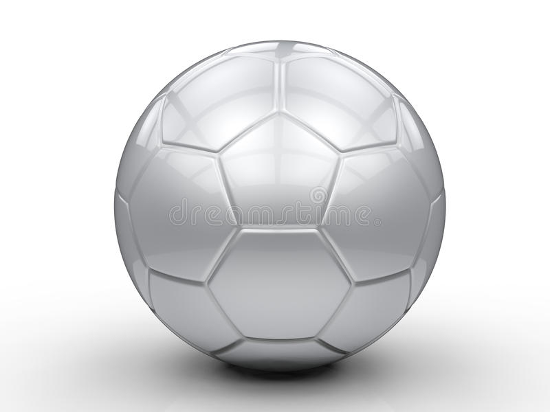 3d balowy wizerunek odizolowywający srebny piłki nożnej biel zdjęcia royalty free