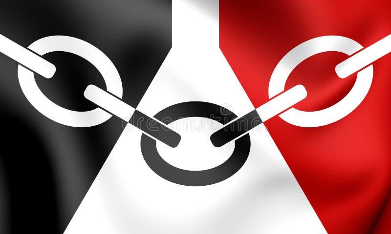 3D bandera del West Midlands de País Negro, Inglaterra ilustración del vector