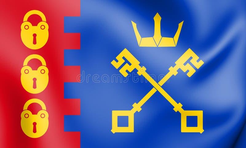 3D bandera del West Midlands de Willenhall, Inglaterra ilustración del vector