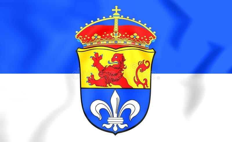 3D bandiera del Hesse di Darmstadt, Germania royalty illustrazione gratis