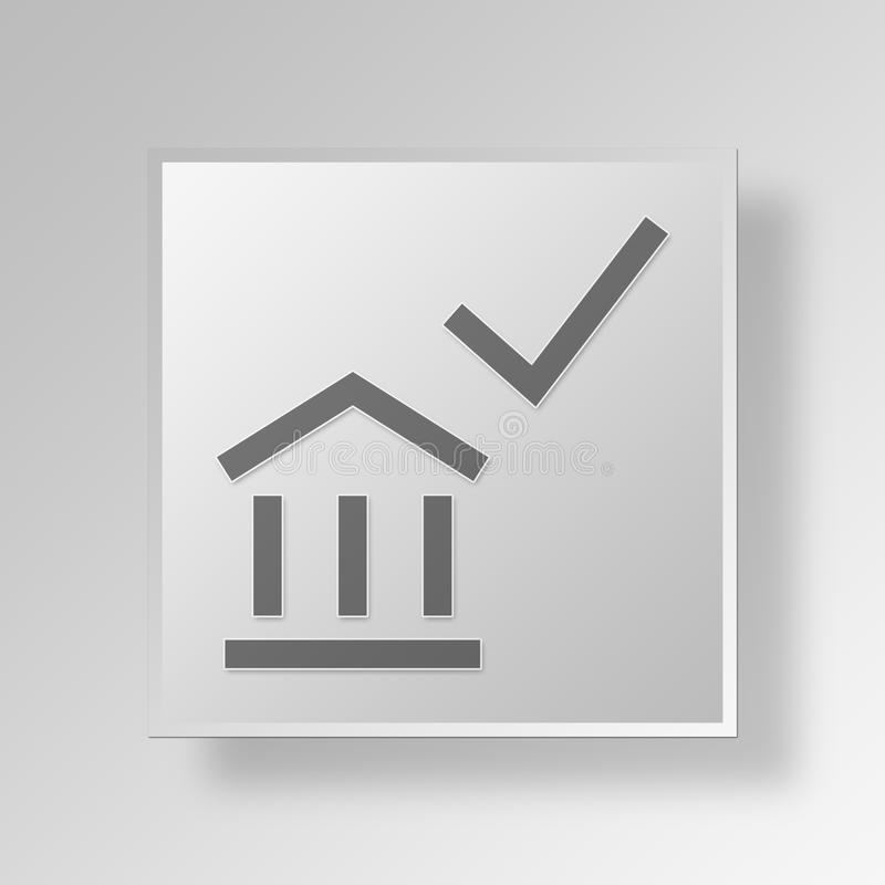 3d Bank Check Mark Icon Business Concept Stock Illustration