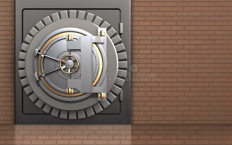 3d bank door safe vector illustration