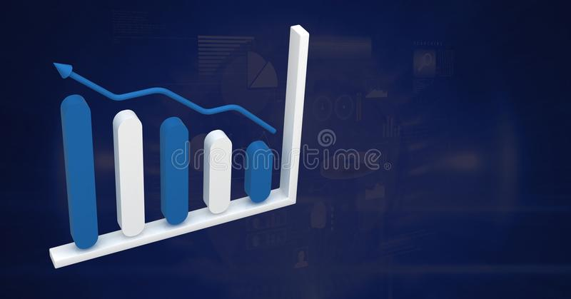 3D bar chart statistics icon with blue background stock illustration