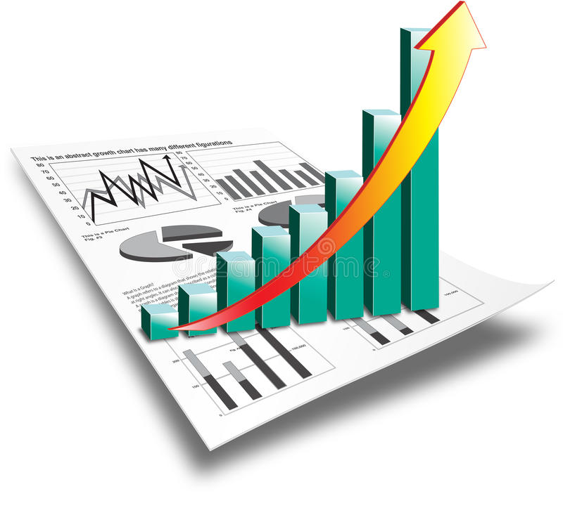 3D Bar Graph on Paper. Bar graph on white paper with shooting arrow to illustrate performance stock illustration