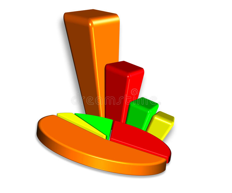 Download 3D Bar & Pie chart stock illustration. Illustration of background - 30470687