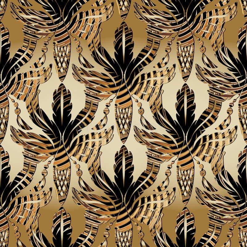 3d Barok eiken bladeren en eikels naadloos patroon Vectorantiqu stock illustratie