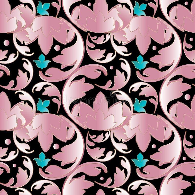 3d baroku adamaszka bezszwowy wzór Czarny kwiecisty wektorowy backgrou royalty ilustracja