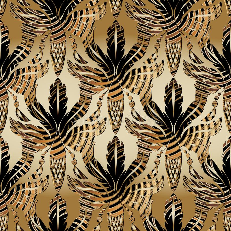 3d Baroque oak leaves and acorns seamless pattern. Vector antique interesting background. Wallpaper. Abstract striped oak stock illustration