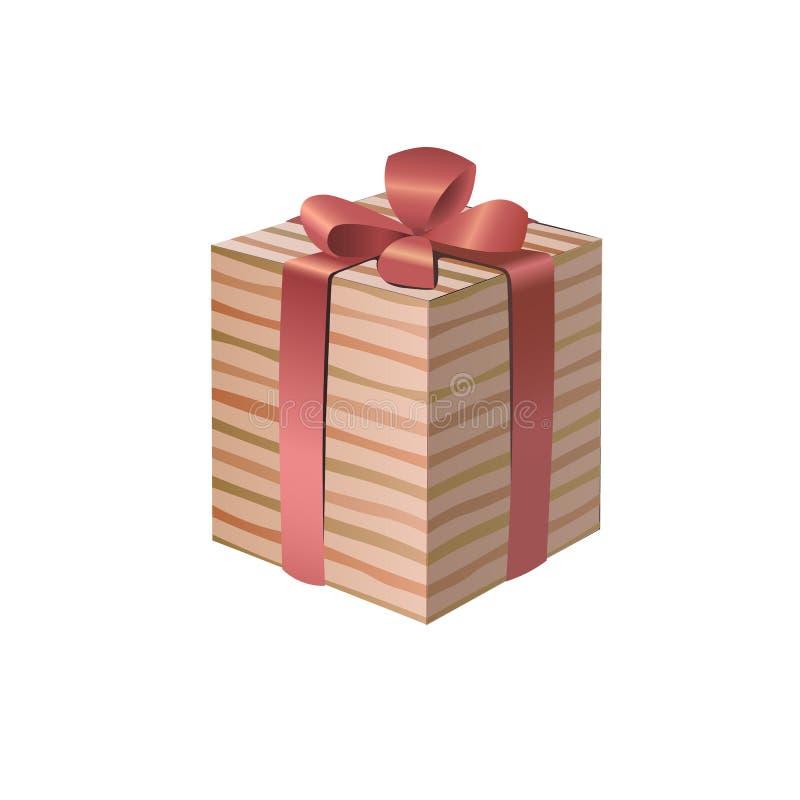 3D a barré le boîte-cadeau avec un arc rose de ruban illustration stock
